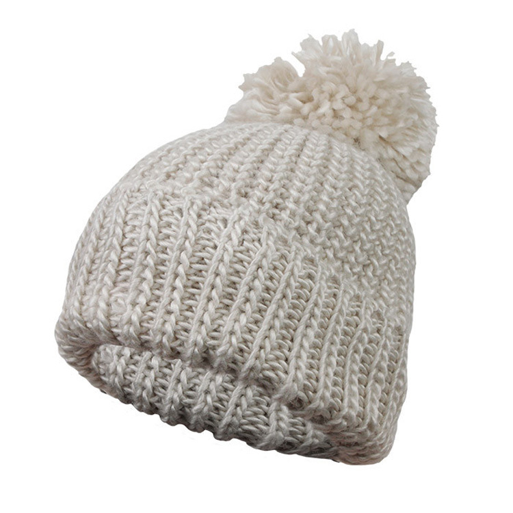 Solid Color Caps Women Winter Knitted Hats Pom Pom Thick Cap with 6 Colors Casual Skullies & Beanies Solid Color Drape Women Hat