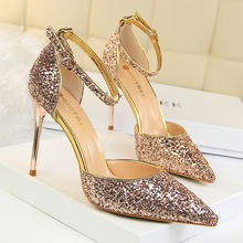 Sexy Women Sandals Shoes Bling 9.5cm Thin High Heels Shallow Buckle Strap Pointed Toe Solid Party Lady Club Female Pumps Shoes spring autumn women pumps women s shoes mary janes thin heels pointed toe buckle strap fashion shallow solid bling string bead