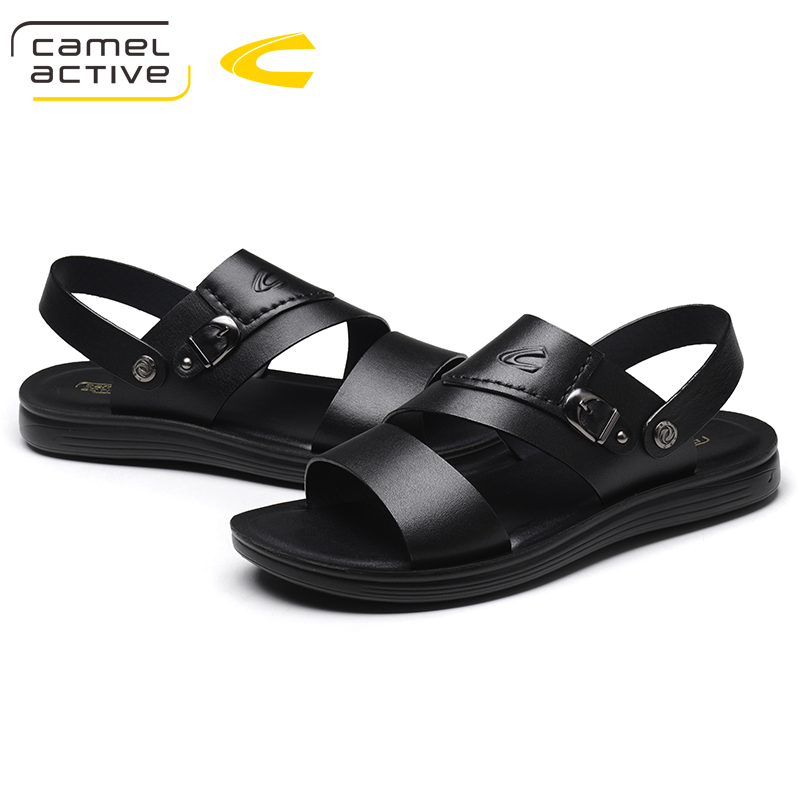 Camel Active Genuine Leather Summer Soft Male Sandals Shoes For Men Breathable Light Beach Casual Quality Walking Sandals