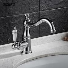 Gizero torneira da bacia de luxo estilo latão cromado cristal mixer cerâmica lidar com banheiro vanity sink toque mixer pia do banheiro zr614