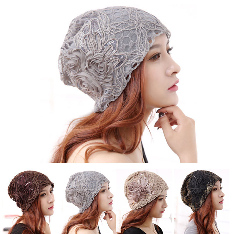 Turban Hats For Women Fashion Lace Flower Knitted Sequin Butterfly Cap Beanies  Autumn Winter Ladies Female Casual Caps
