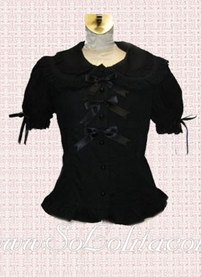 Lolita Bowknot Decoration Corset Puff Sleeves Black Blouse