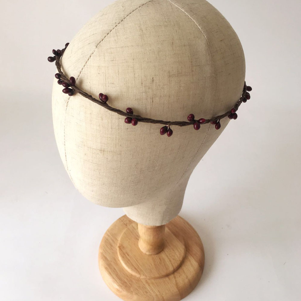 10 Pcs Handmade Rustic Dark Wine Color Pip Berries Flower Crown