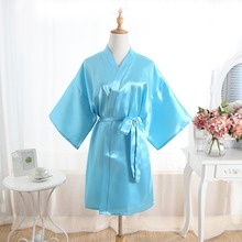 Hot Women robe Silk Satin Robes Wedding Bridesmaid Bride Gown kimono Solid robe One size fit S-XXL Light Blue cheap Rayon Polyester Faux Silk MeiYeSiDa Half Knee-Length One Size fits S-XXL Spring Floral Faux Silk Rayon