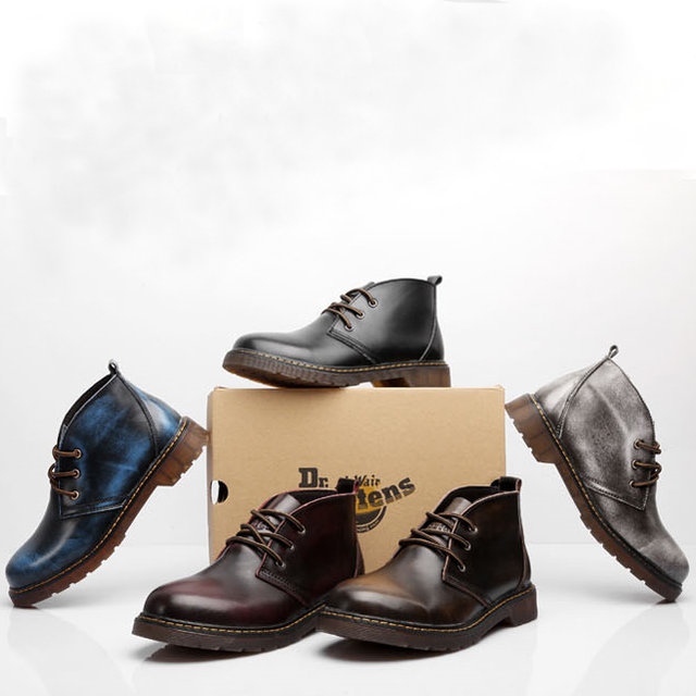 Plus Size 37-47 Men Casual Boots Martin Gaiters Genuine Leather Ankle Men Boots For Workers Hard-wearing Shoes Botas Hombre