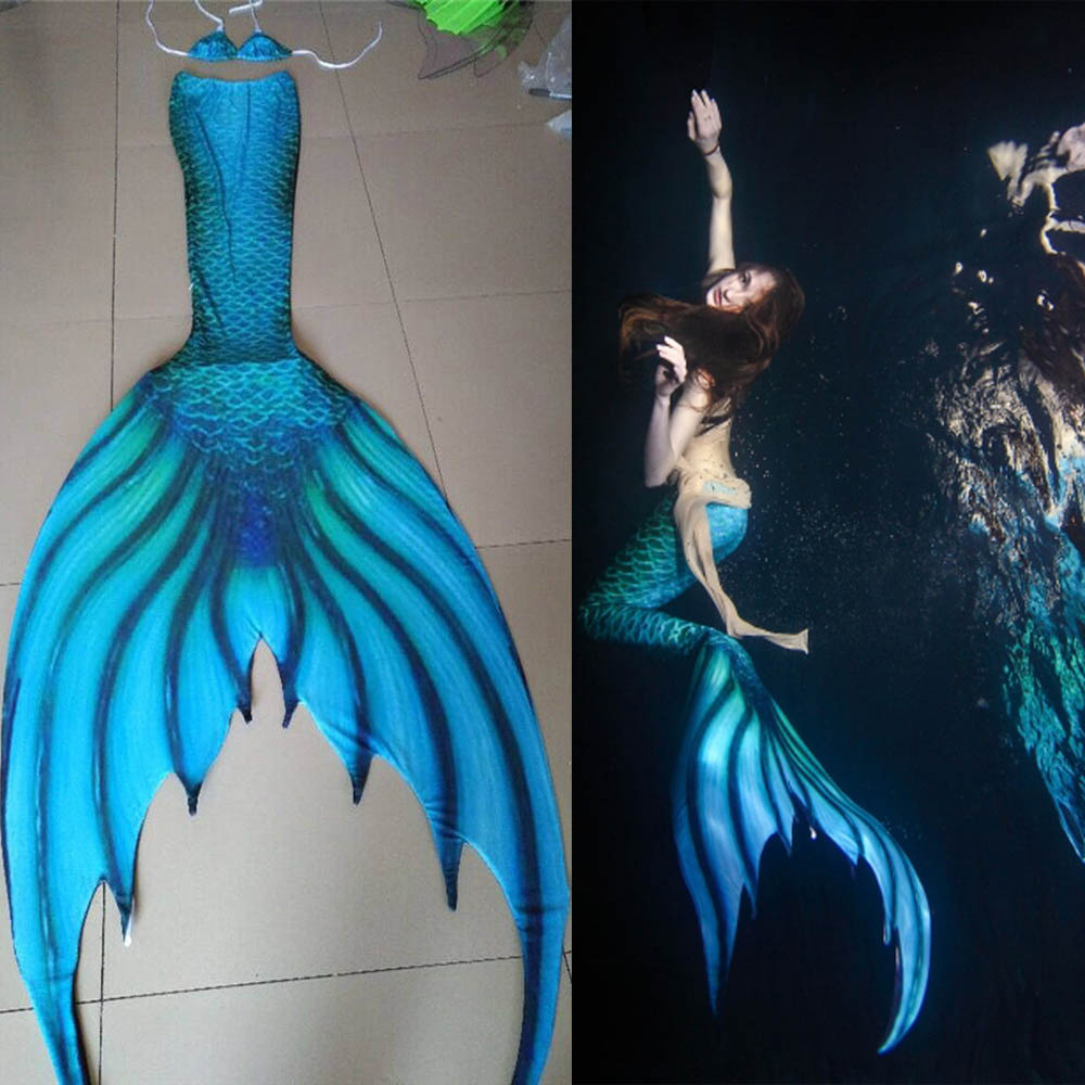 Customized Adult Kids Mermaid Tail Girls Women Swimwear Summer Beach Vacation Mermaid Tail With Monofin Swimming Cospaly Costume