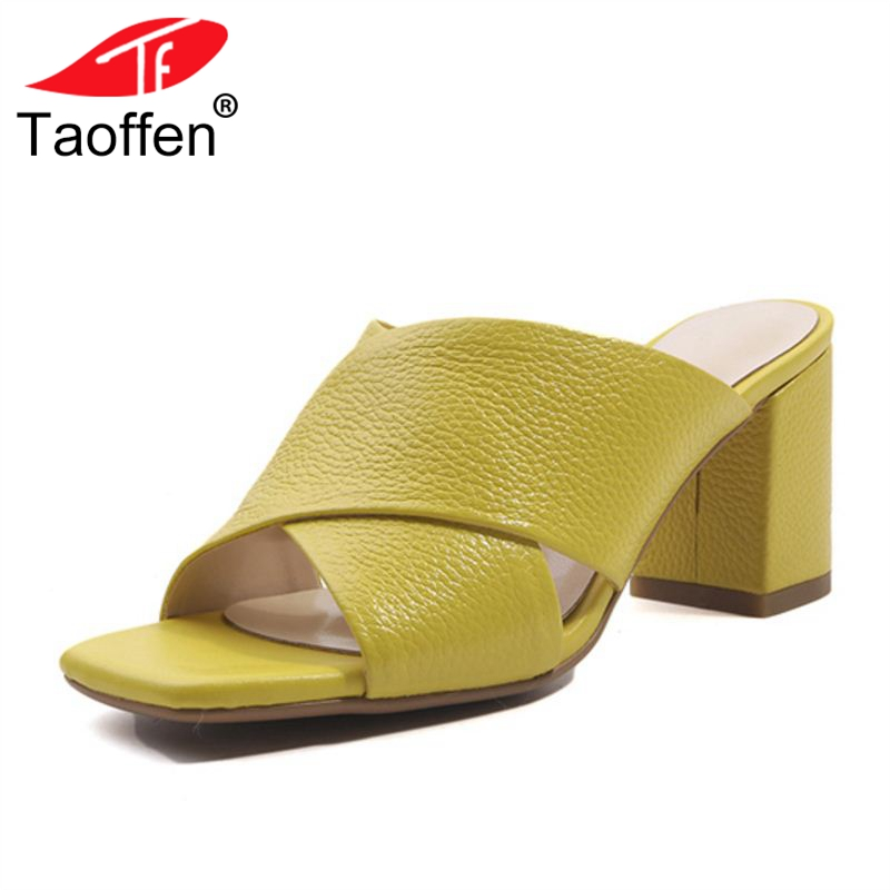 TAOFFEN Size 33-43 Women High Heel Sandals Slip On Open Toe Thick Women Summer Shoes Real Leather Concise Sandals Office Footwe hot sale big size 30 46 fashion summer women gladiator shoes sexy open toe pu leather slip on high heel sandals chd 66