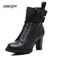 New Winter High Heeled Boots Genuine Leather Ladies Martin Boots Motorcycle Warm Boots High Heels Boots