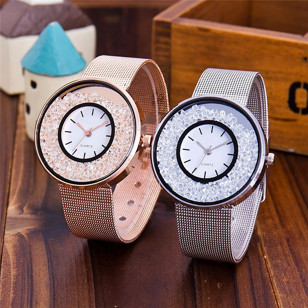 Hot Sale Fashion Stainless Steel Rose Gold & Silver Band Quartz Watch Luxury Women Rhinestone Watches Valentine Gift Reloj Mujer