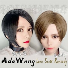 Leon Scott Kennedy Short Brown Mixed Wig Ada Wong Black Cos Synthetic Hair Cosplay Costume Wigs + Wig Cap