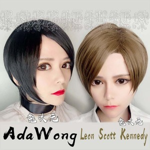 Image 1 - Leon Scott Kennedy Short Brown Mixed Wig Ada Wong Black Cos Synthetic Hair Cosplay Costume Wigs + Wig Cap