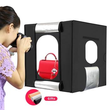 Free shipping 60cm*60cm Studio soft box LED Shooting Light Tent photo light box lichtbak photo tent set+portable bag +2 Backdrop