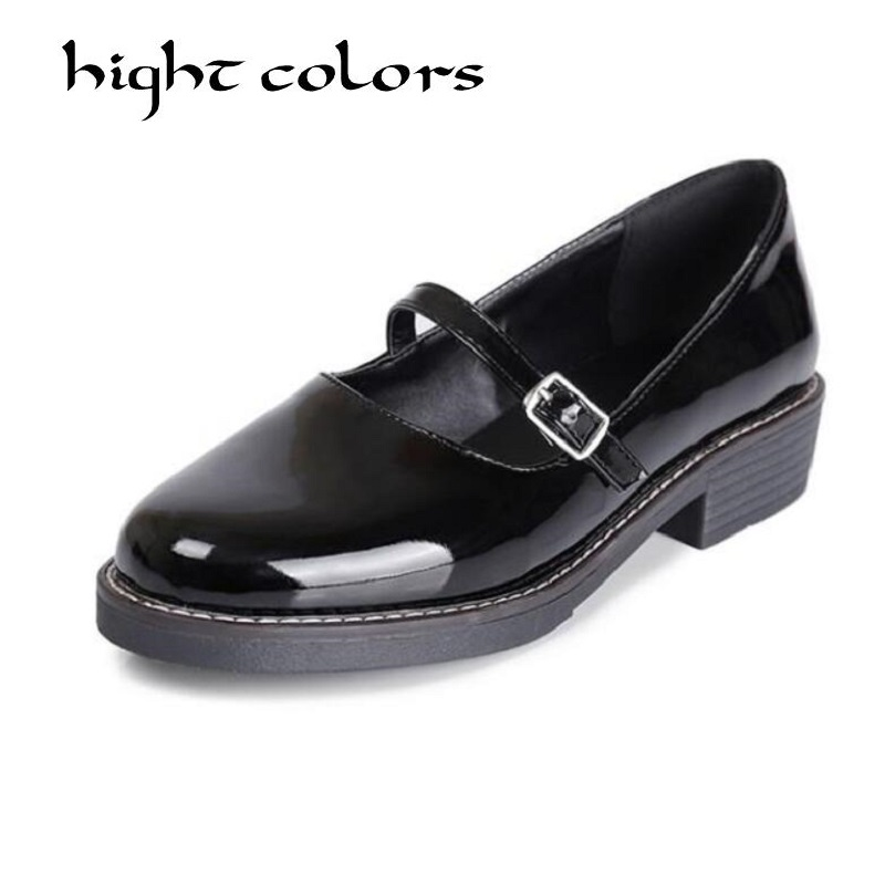 Women Patent Leather Loafers Round Toe Women Flats England Style Buckle Oxfords For Women Ladies Casual Flat Shoes Size 40 43
