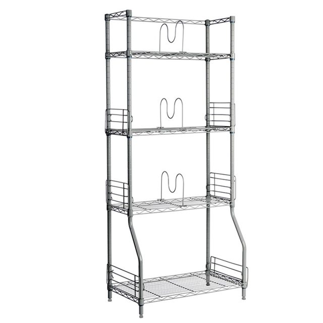 LANGRIA Silver 4 Tier Wire Bookshelf Rack Storage Organization RackS Shelving Unit Easy Install Holders With Adjustable Feet