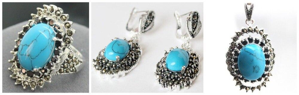 Vintage pierre bleue 925 Sterling marcassite anneau (#7-10) pendentif et boucles d'oreilles ensembles 07