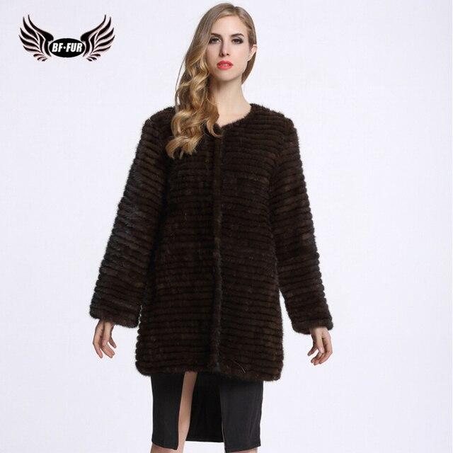 BFFUR Women Fur Mink CoatsGenuine Leather Real Knitted Mink Coat