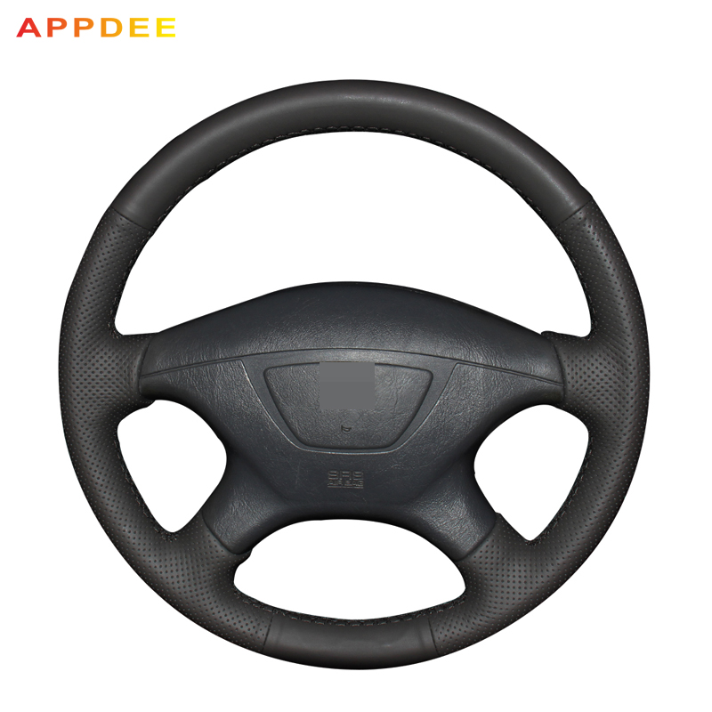 Appdee Hand-stitched Black Leather Car Steering Wheel Cover for Mitsubishi Pajero Sport 2004 senior luxury hand knitted bv style car steering wheel cover for mini cooper