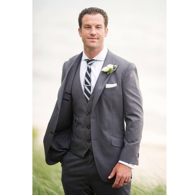 Custom Made 3 Piece Sim Fit Grey Best Man Groomsman Men\'s Wedding ...