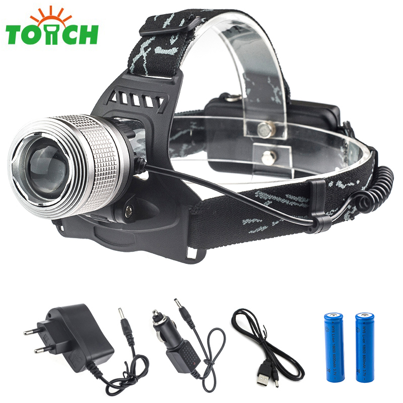 Professional Led Flashlight Head Cree T6 Led Powerful Headlamp 18650 Battery Rotate Focus Hat Light with Usb Cable+Car Charger