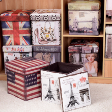 Toy Bin storage box classic Multi-functional clothes/shoes/ groceries storage  with cover folding stool цена