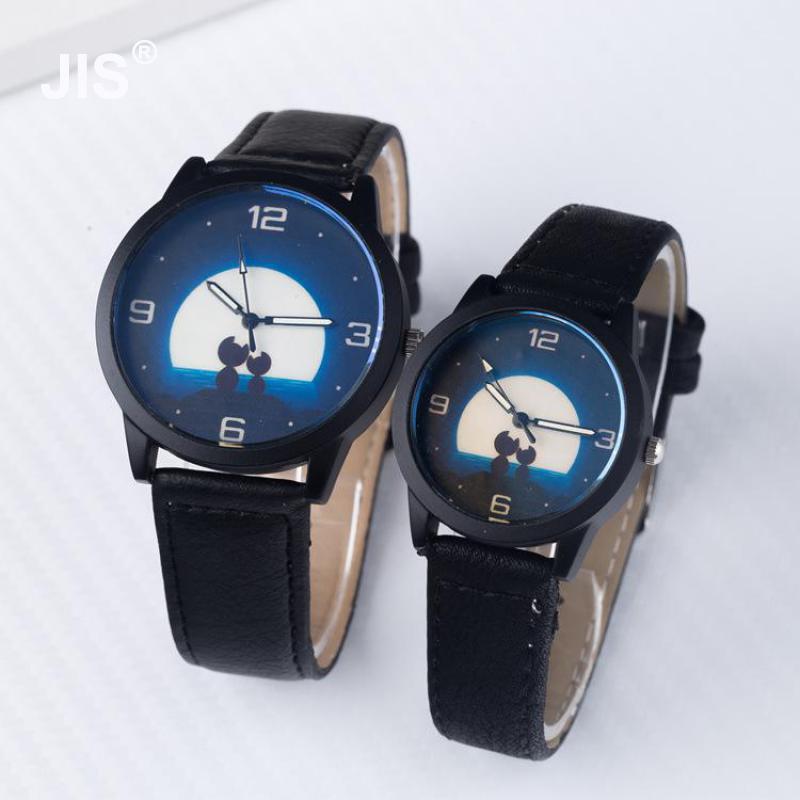 Fashion Cat Couple Night Sky Moon Leather Analog Round Dial Quartz Wristwatches Wrist font b Watch