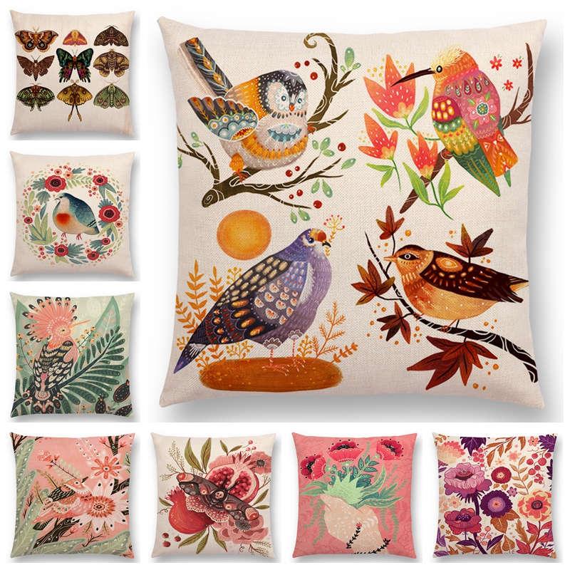 Горячая Распродажа чехлы на подушки для дома диванные с разноцветными птичьими