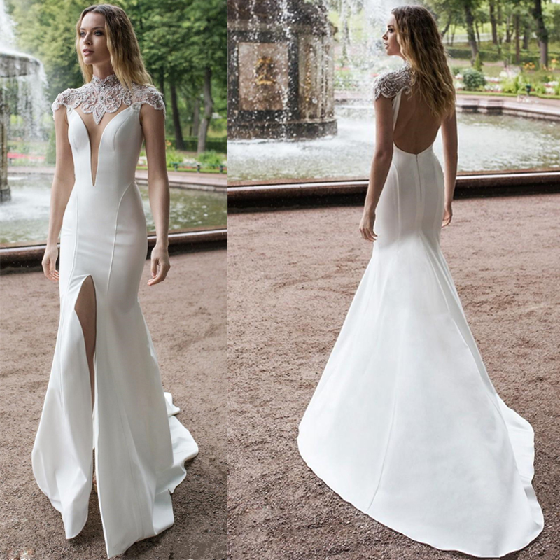 LORIE Mermaid Wedding Dresses 2019 New High Neck Front Split Lace Beads Satin Bridal Gowns Sweep Train Wedding Dress Plus Size