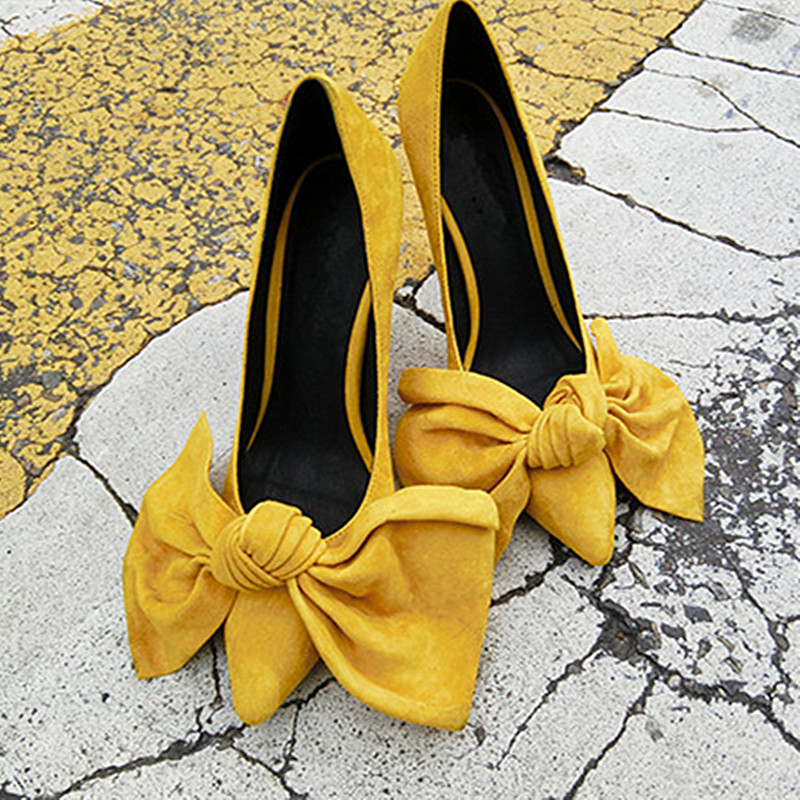 Primavera Las Bombas Superficial Sexy Tacones as Caliente Altos En Femme 2019 Mujeres Pajarita Chaussures Punta As Zapatos Pic Pic De Estrecha Amarillo SFrSq