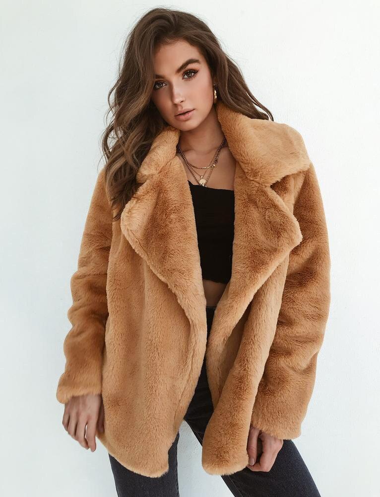Solid Winter Warm Long-Sleeve Lapel Women Fluffy Faux Fur OL Slim Cardigan Coat
