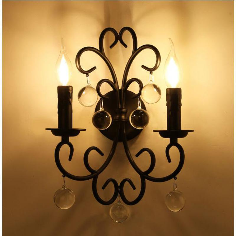 где купить Balcony Iron Crystal wall Candle light Bedroom American retro black Mirror Led wall sconce Industrial Wall light Vanity Lighting дешево