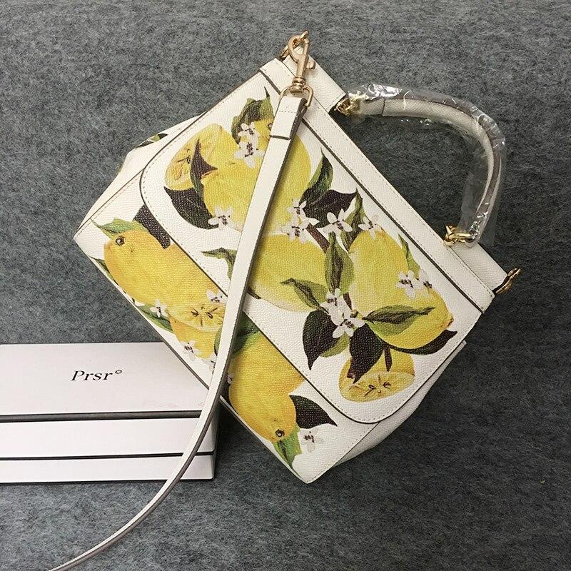 Summer Lemon Handbag Cute Fruit Printing Tote Bag Sicilian Female Simple Shoulder Crossbody Bag Genuine Leather White Women Bags cute off the shoulder lemon dress for women