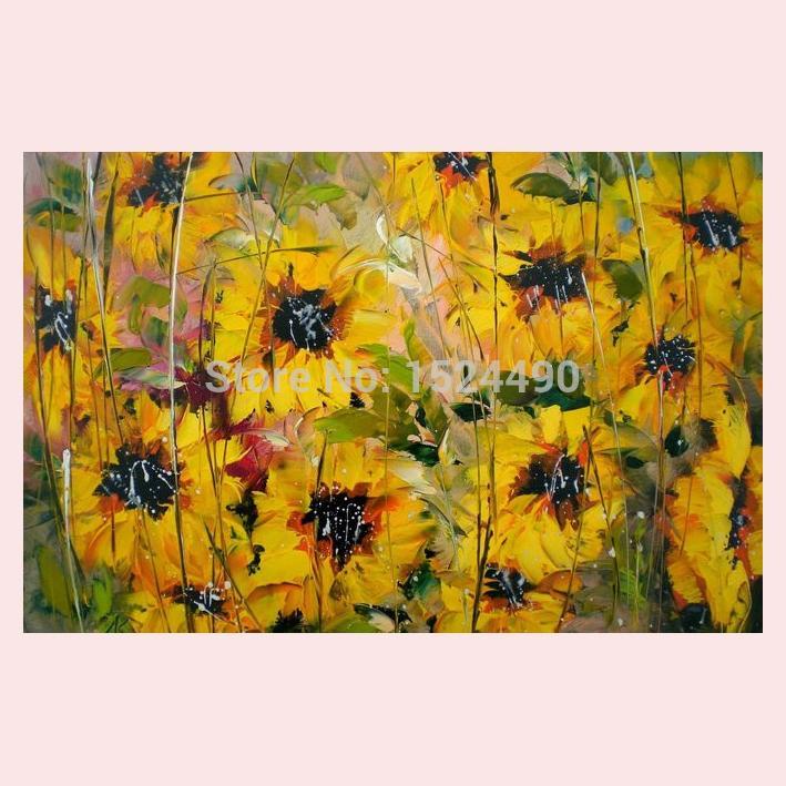 ღ Ƹ̵̡Ӝ̵̨̄Ʒ ღFree Shipping 100% Hand Painted Wall Art Sunflower Oil ...