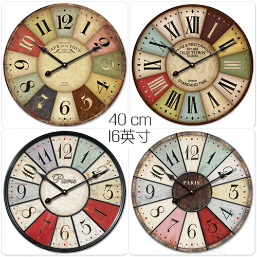 Wood Vintage Rustic Wall Clock Wooden Watches Large Fake Iron Art Mediterranean Style16inch Home Decoration