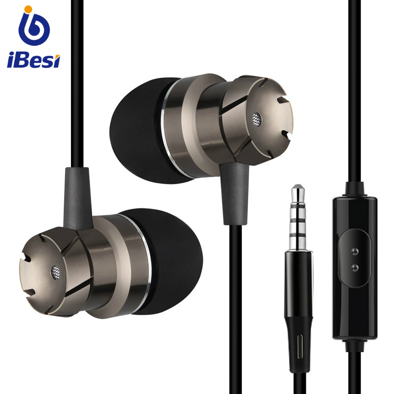 IBESI Professional Metal Headphone In Ear Wired Earphone 3.5mm Heavy Bass Sound Quality Music Sport Headset For iPhone Xiaomi image