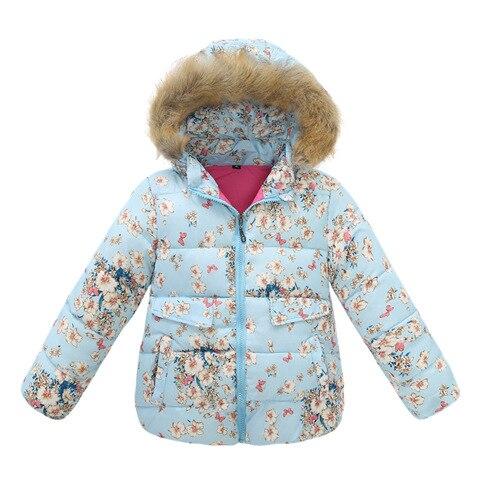 2016 Kış Ceket Kız Çocuk Aşağı Ceket Parkas Hayvan Çiçek Baskılı Kapşonlu Kürk Çocuk Kabanlar Ile 24 M-5 T