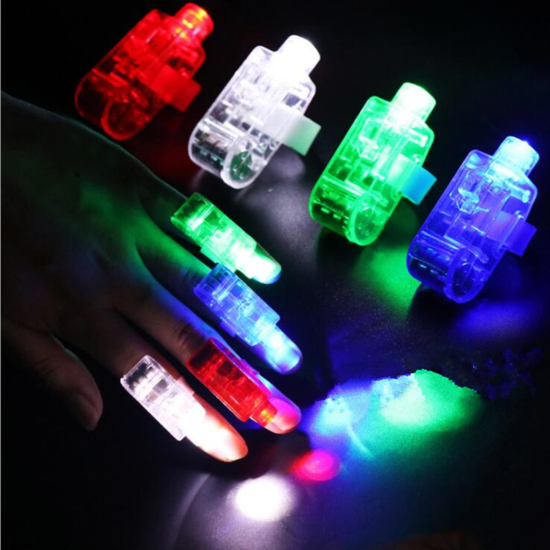 2018 50pcs LED Flashing Finger Light Glowing Laser Finger Rings Beams Torch Kids Party Gift Toy Cosplay Accessories