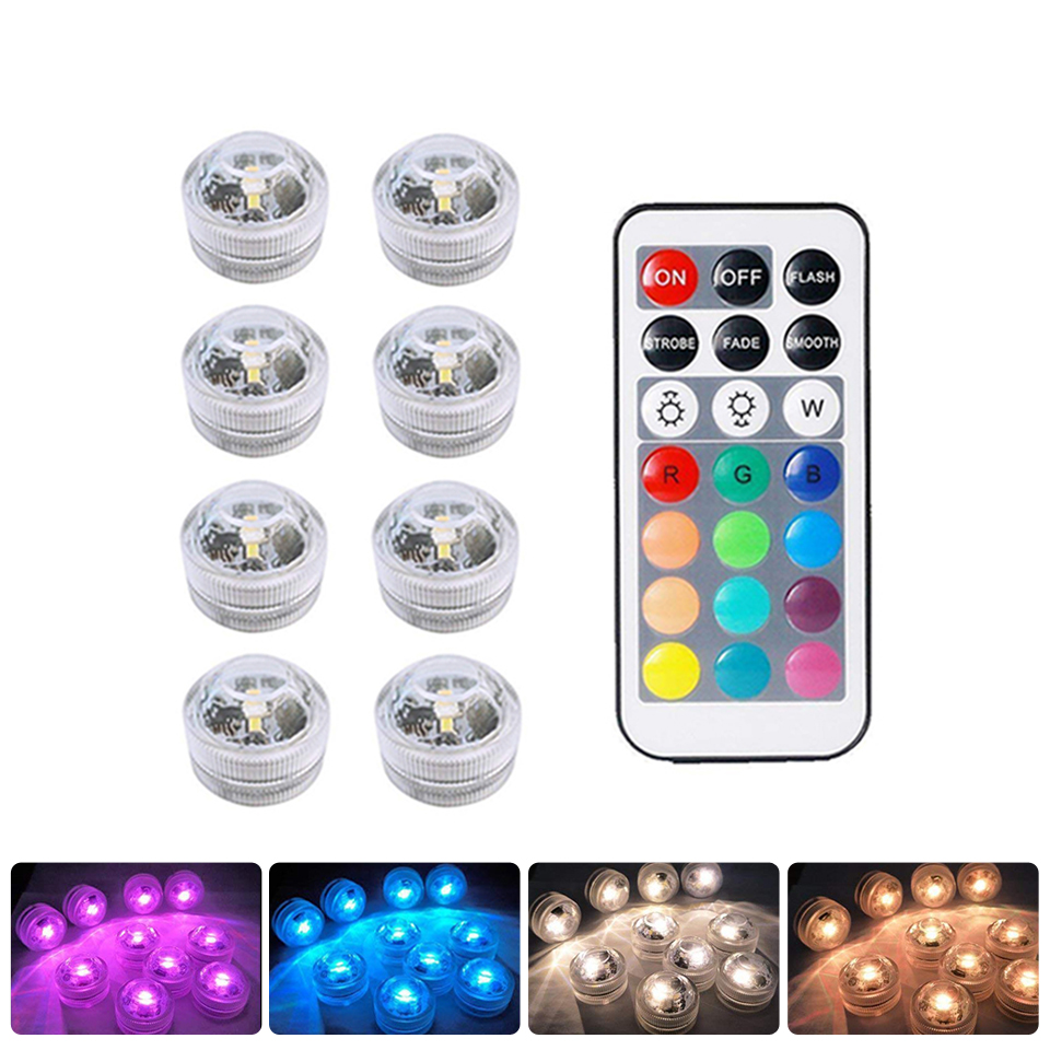Xsky RGB Submersible LED Underwater Light Battery Operated Night Lamp Tea Lights For Vase Bowls Party Wedding Holiday Decoration