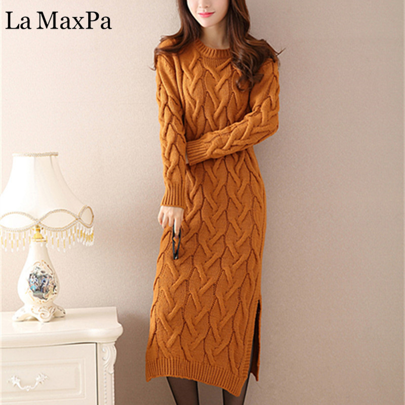 Fashion Winter 2018 Knitted Dress Women Clothes Ladies Long Sleeve Knitted O neck Casual Dress Autumn Female Party Dresses