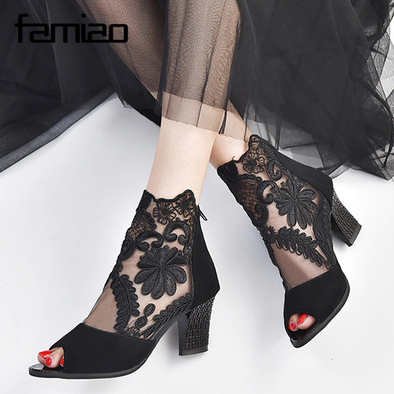 FAMIAO summer peep toe sandals lace female boots high heel sexy sandalias mujer embroider gladiator sandals women big size