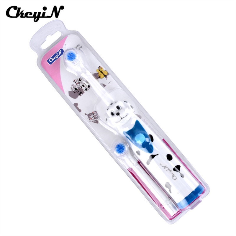 Ckeyin Children Electric Toothbrush Boy Girl Teeth Brush Lovely Cartoon Tiger Dog Dental Oral Care Mouth Clean with Brush Head image