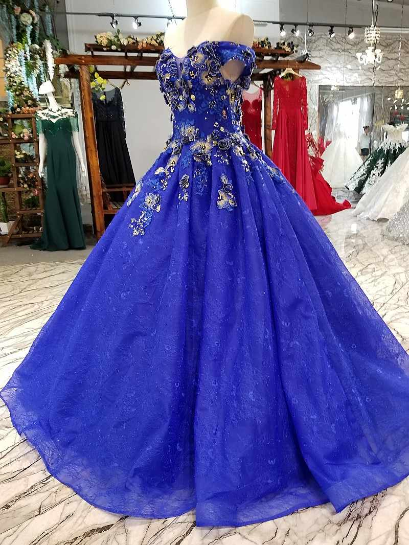 LS341774 כחול פשוט זול שמלת ערב כבוי כתף מתוקה אורך רצפת נשים אירוע על ידי ישיר מסין במפעל