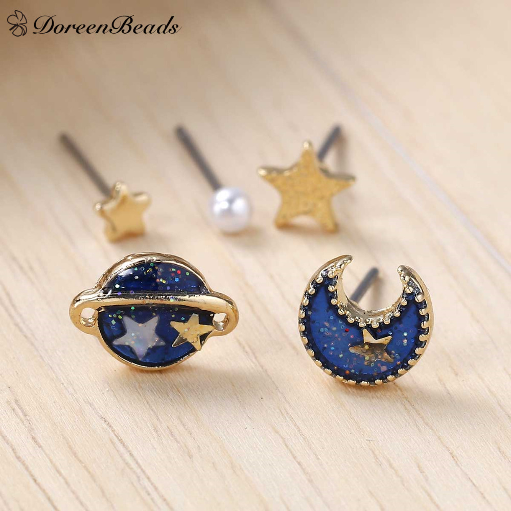 DoreenBeads 2016 Summer Deep Blue Five Point Star Moon Planet Stud Earrings gold color Trendy Funny 11x8mm-3mm 1Set (5 Pieces)