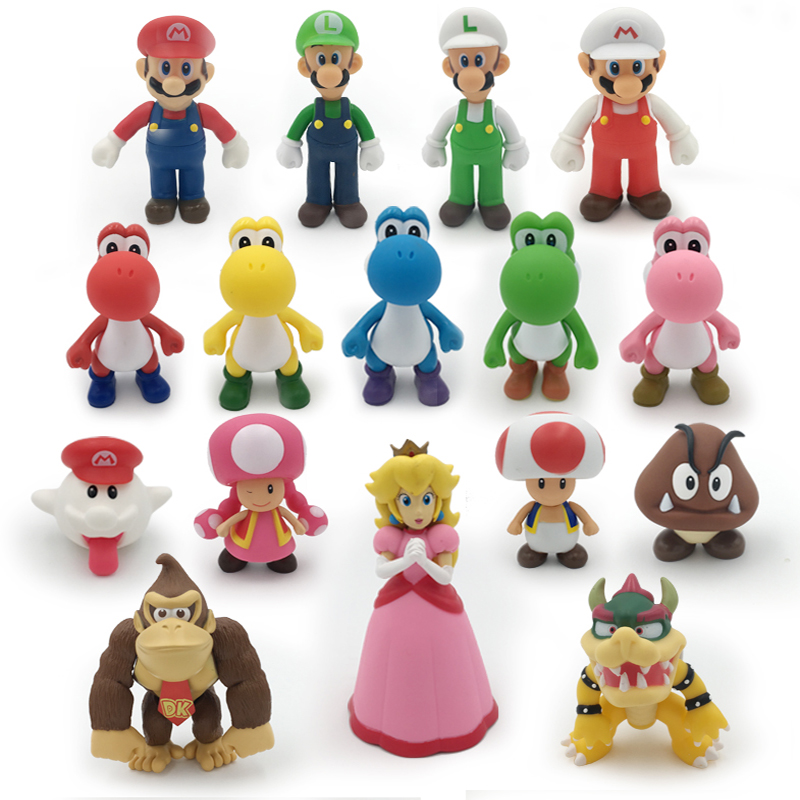 16 Styles 8-15cm Super Mario Bros Bowser Koopa Yoshi Mario Luigi Mushroom Peach Wario Action Figure Toys Children Gift Dolls ems shipping 12 sets cute super mario game mario luigi brothers set pvc action figure collection model dolls toy 3pcs per set