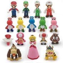 16 Styles 8-15cm Super Mario Bros Bowser Koopa Yoshi Luigi Mushroom Peach Wario Action Figure Toys Children Gift Dolls