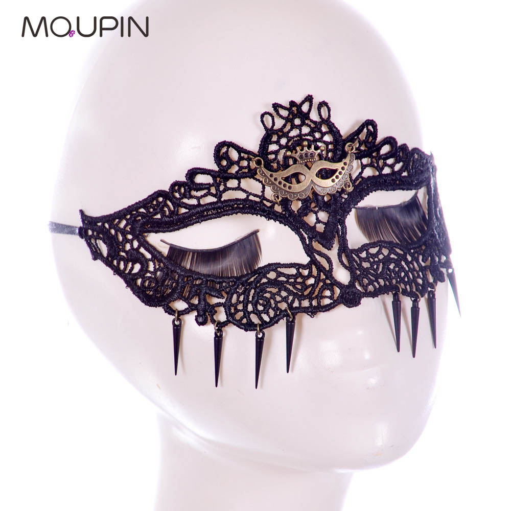 MQUPIN Lace Mask Sexy Queen Hollow Veil Masquerade Queen Fan Black Glamour Gothic Lace Dance Ball Gemstone Leaf Veil Adult Toy