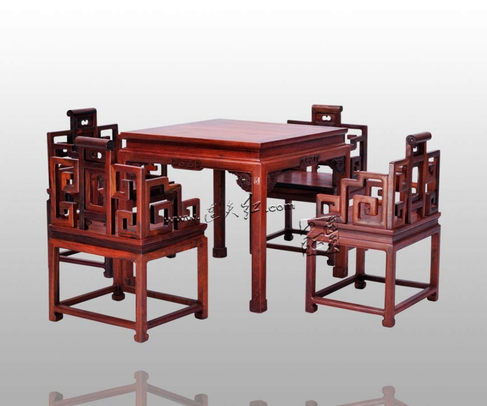 Rosewood Furniture Set 1 Square Table & 4 Chairs Dining Living Room Solid Wood Desk and Mahogany Armchair China Classic Factory classical rosewood armchair backed china retro antique chair with handrails solid wood living dining room furniture factory set
