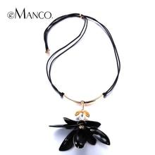 Negro acrílico flor colgante collar con incrustaciones de cristal eManco NL0014 larga cuerda de cuero collar de las mujeres nuevo 2015 joyas de primavera