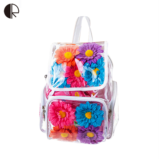2016 Shinning Floral Printing Clear Backpack Ttransparent School Bag For Teenagers PVC Rucksack Hip-Hop Leisure Travel Bag BS773