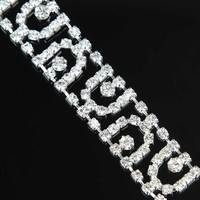 5Yards Crystal Diamond Crystal Trim Rhinestone Chain Bridal Belts For Wedding Dresses Silver Golden