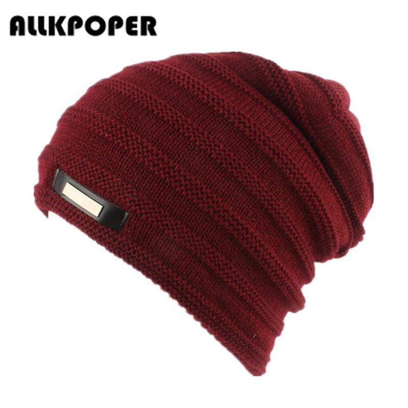 ALLKPOPER Bonnet skullies men winter hat boy knitted beanie hats for men beanies warm caps gorro russian ushanka wool warm cap skullies